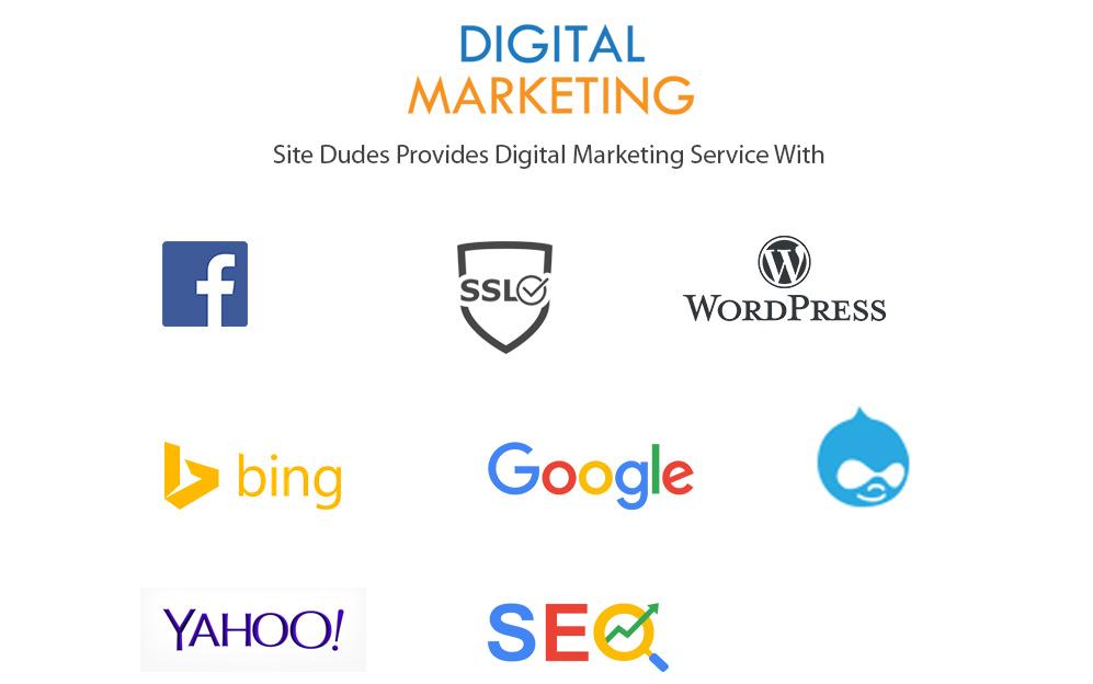digital marketing tools we use: wordpress, google analytics, google search console, google ads, social media platforms